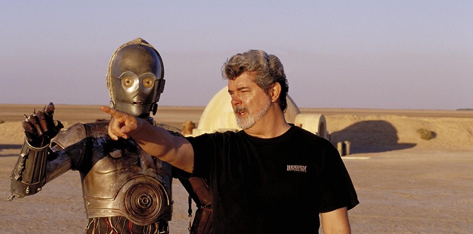 George Lucas og Anthony Daniels som C-3PO