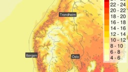 Temperaturene for 8. mai i Norge