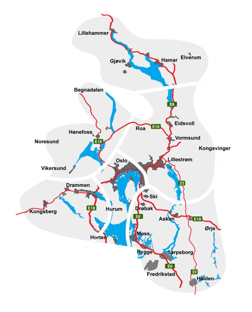 Karta Norge Drammen.Frekvenser Radio Metro