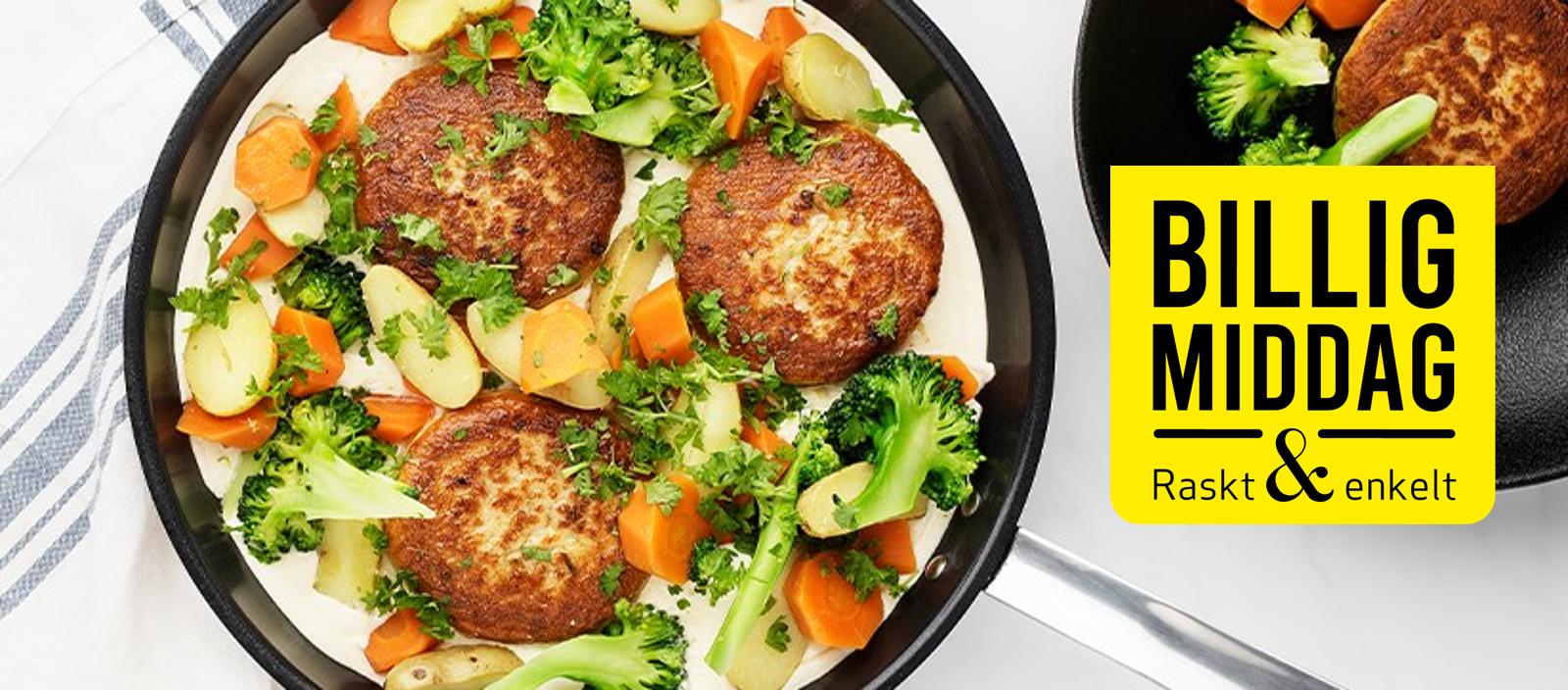 Fiskeburger med potet og grønnsaker i rømmesaus