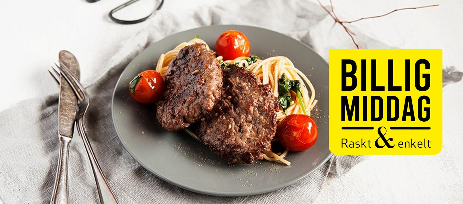 Hjemmelagde karbonader med spagetti